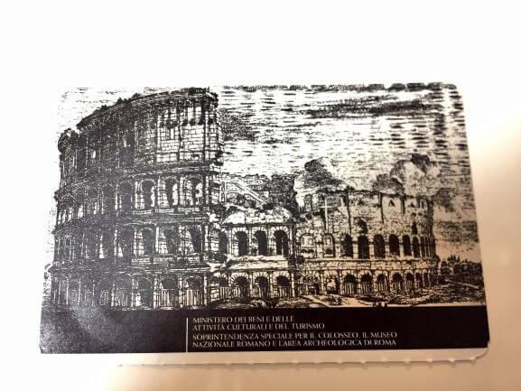 コロッセオ共通チケットの表面