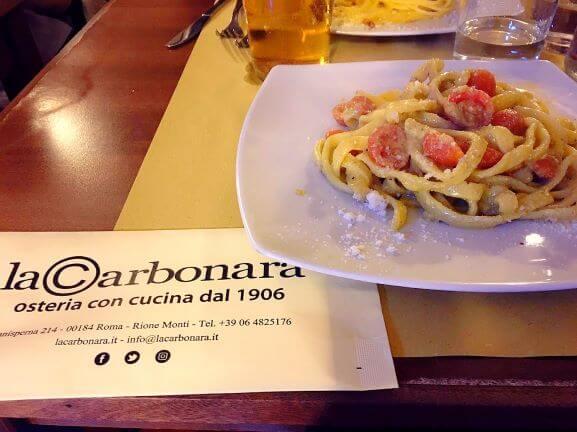 la carbonaraのピスタチオとプチトマトのパスタ